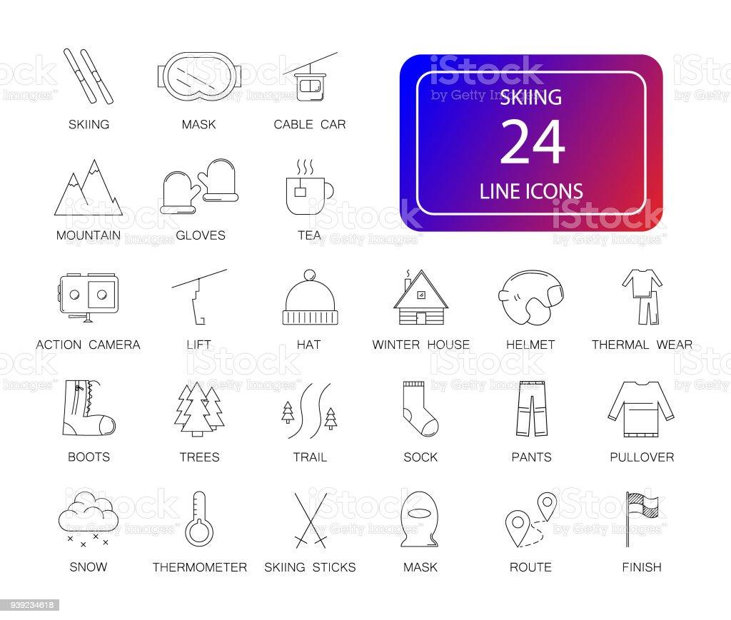 Line icons set. Skiing pack. vector art illustration