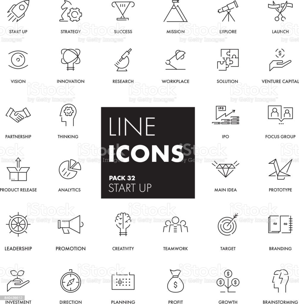 Line icons set. Start Up royalty-free line icons set start up stock illustration - download image now