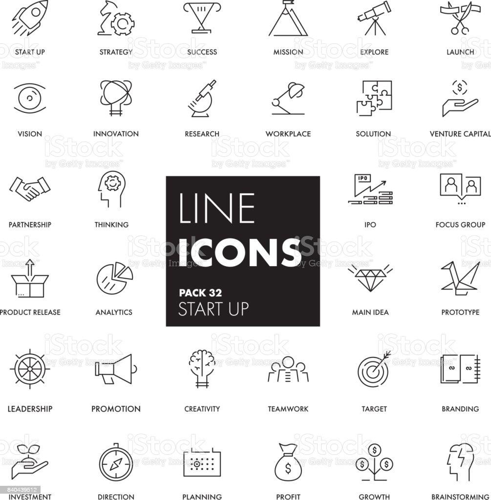 Line icons set. Start Up vector art illustration