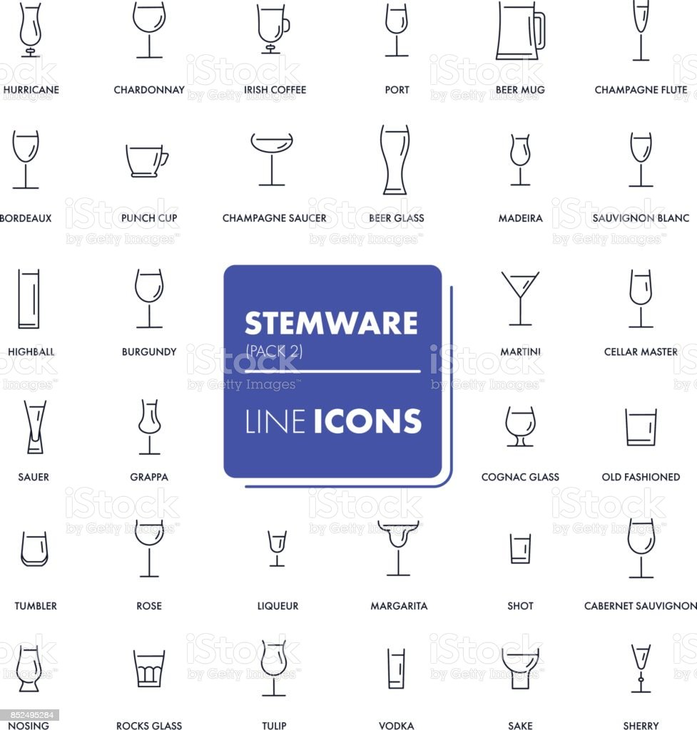 Line icons set. Stemware vector art illustration
