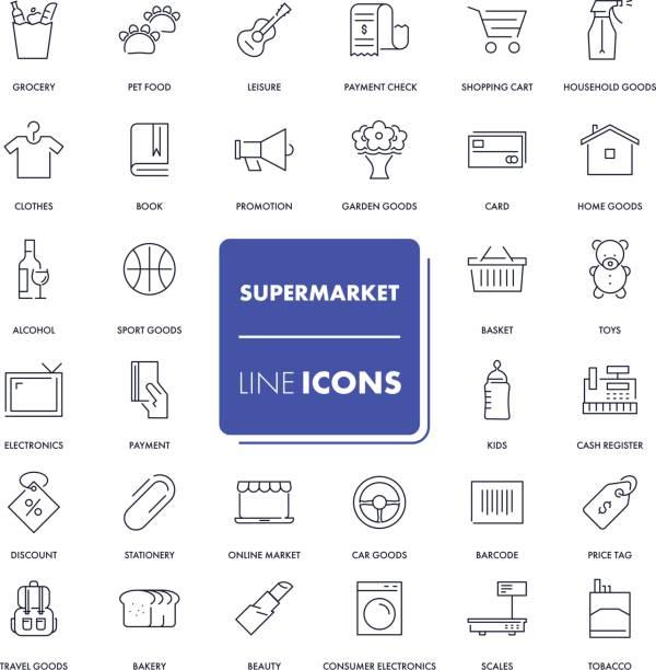 illustrazioni stock, clip art, cartoni animati e icone di tendenza di line icons set. supermarket - grocery home