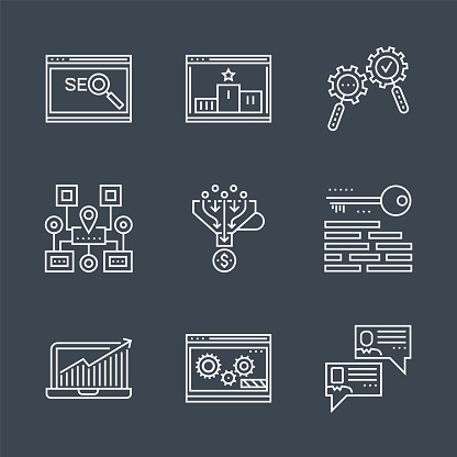 SEO line icons set. SEO Related Vector Line Icon. Isolated on Black Background. Social chanels, keywording, sales funnel, sitemap navigation, search process, growth traffic, ranking. Editable Stroke.