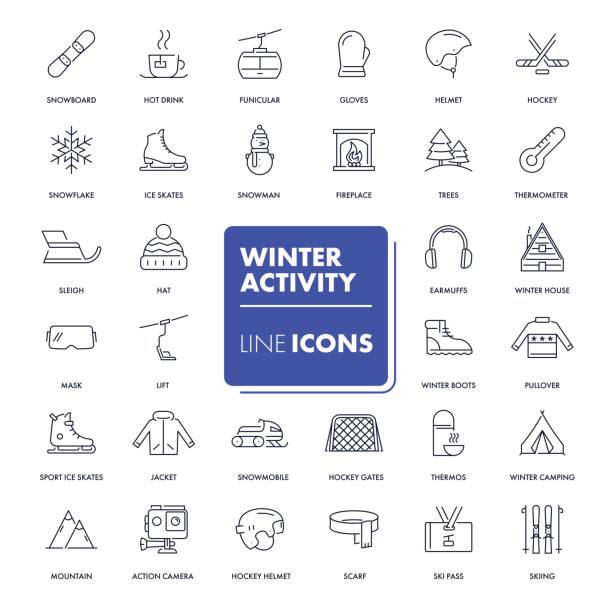 illustrations, cliparts, dessins animés et icônes de ligne de jeu d'icônes. activité d'hiver - ski