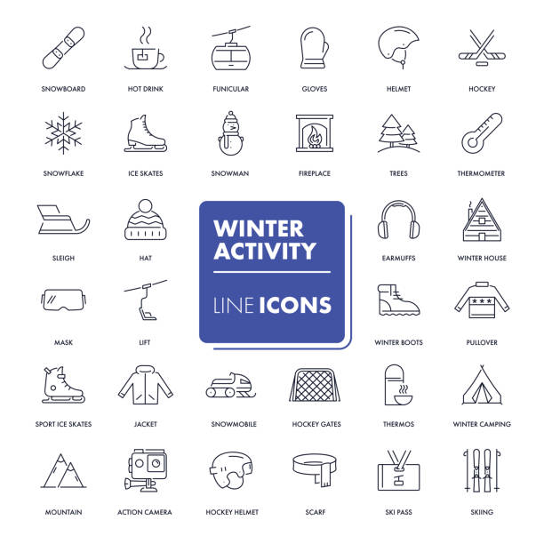 zeile icons set. winteraktivitäten - skifahren stock-grafiken, -clipart, -cartoons und -symbole