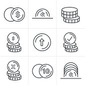 Line Icons Style  Coins Icons Set, Vector Design black color