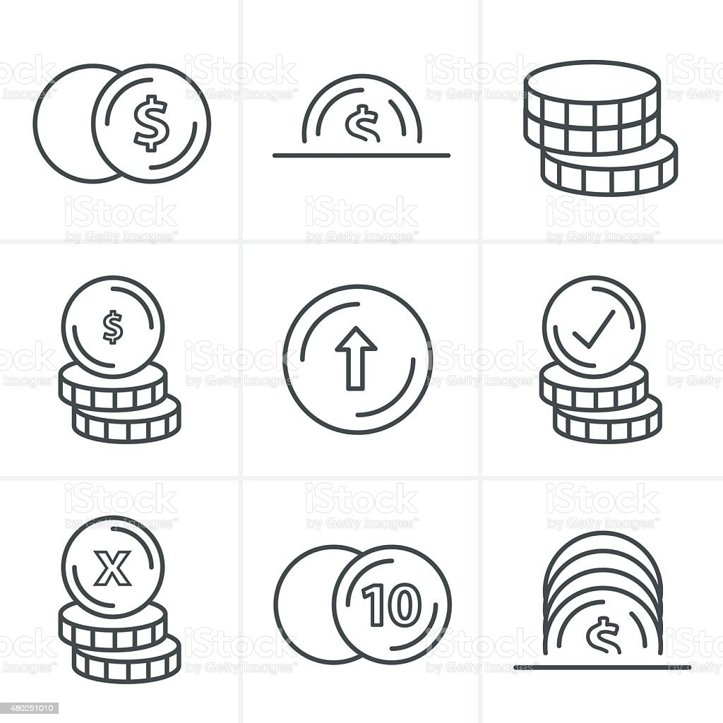 Line Icons Style  Coins Icons Set, Vector Design black color vector art illustration