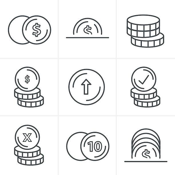line icons style  coins icons set, vector design black color - 金融與經濟 幅插畫檔、美工圖案、卡通及圖標
