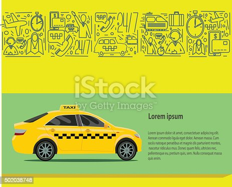 Taxi public auto transport banner set