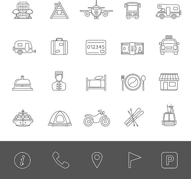 Line Icons - Vacation Travel icons. rv interior stock illustrations