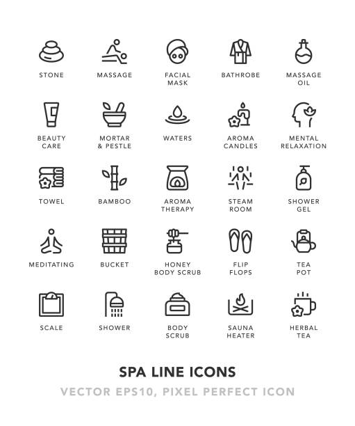 spa line icons - massage stock illustrations
