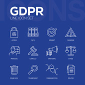 General Data Protection Regulation Line Icons