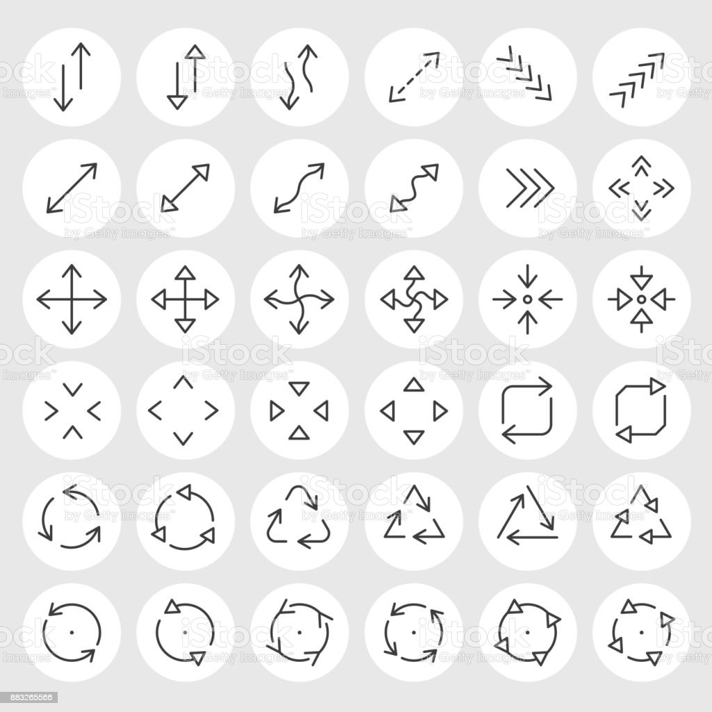 Line icons vector set vector art illustration