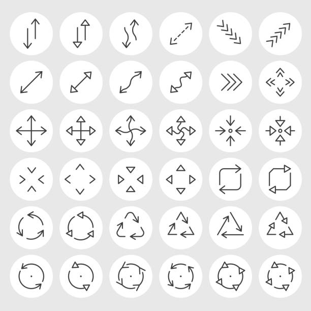 Line icons vector set vector art illustration