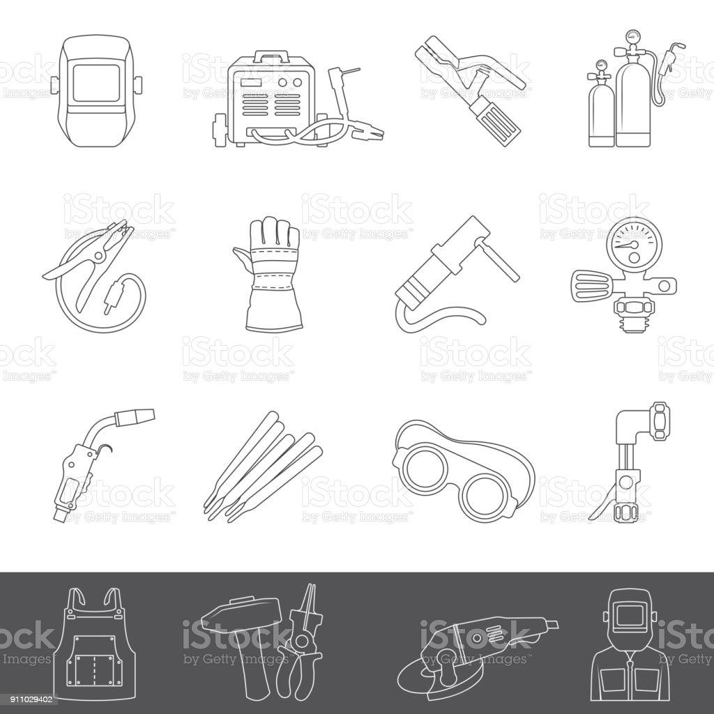 Line Icons Welding Equipment Stock Vector Art More Images Of Apron Diagram Royalty Free Amp