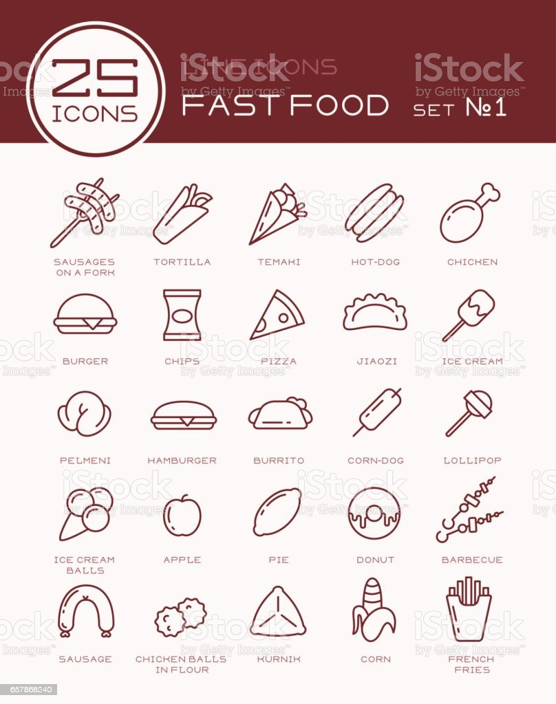 Line icons with fast food set №1 vector art illustration