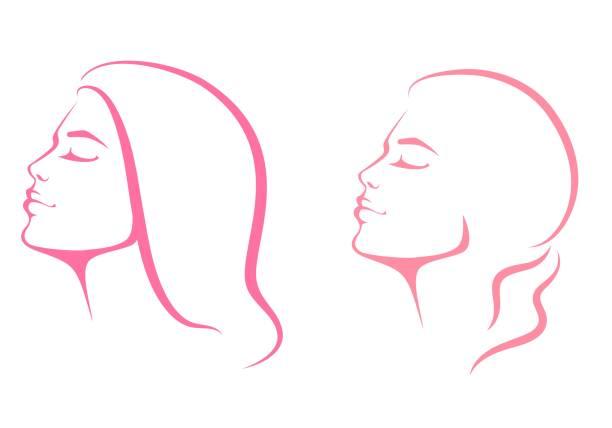 illustrazioni stock, clip art, cartoni animati e icone di tendenza di line illustration of a beautiful woman face from profile view - woman face