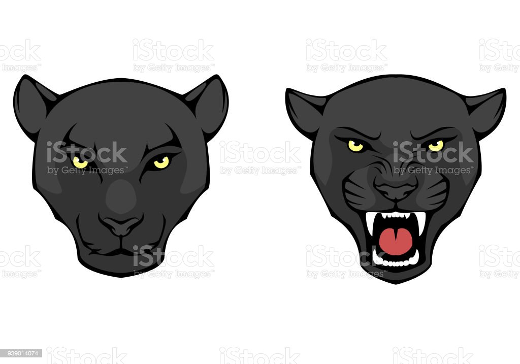line illustration of a black panther head vector art illustration