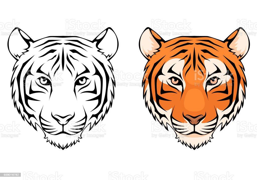 line illustration of a tiger head vector art illustration