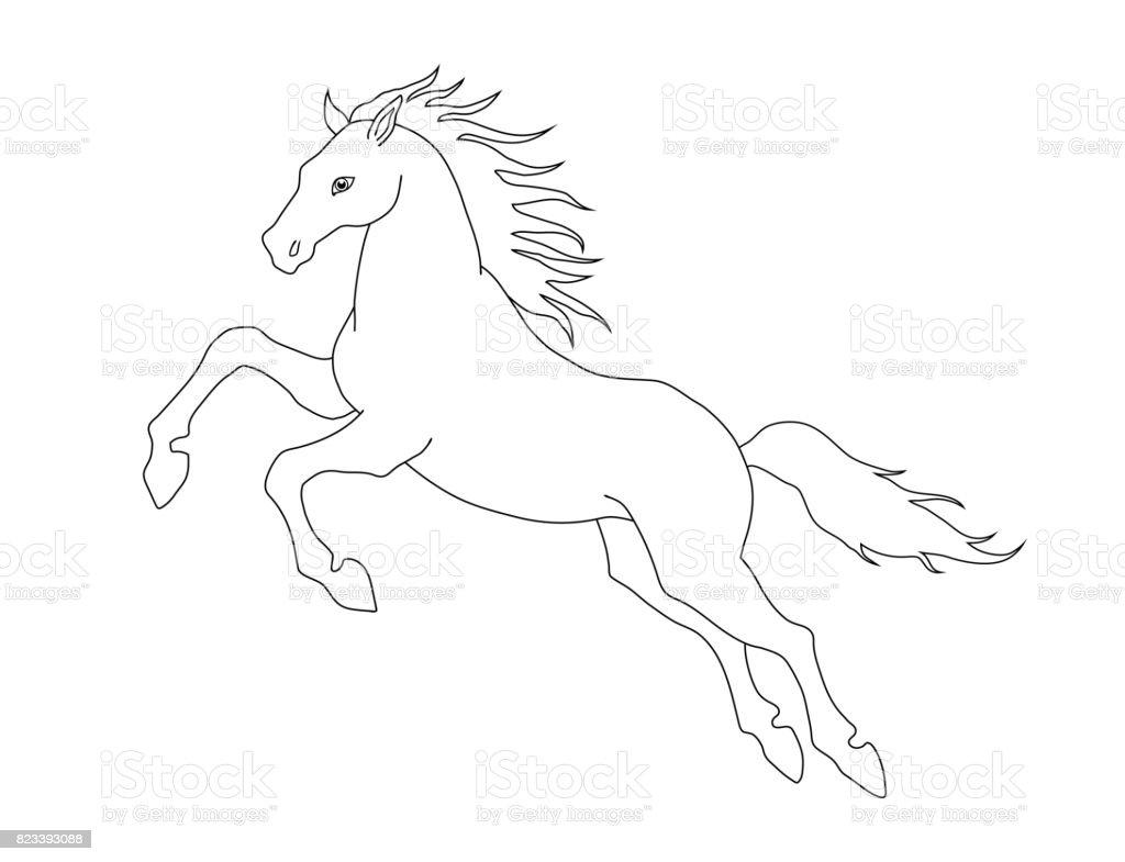 Paarden Kleurplaten Boek.Lijn Illustratie Van Het Paard Voor De Kleurplaat Boeken