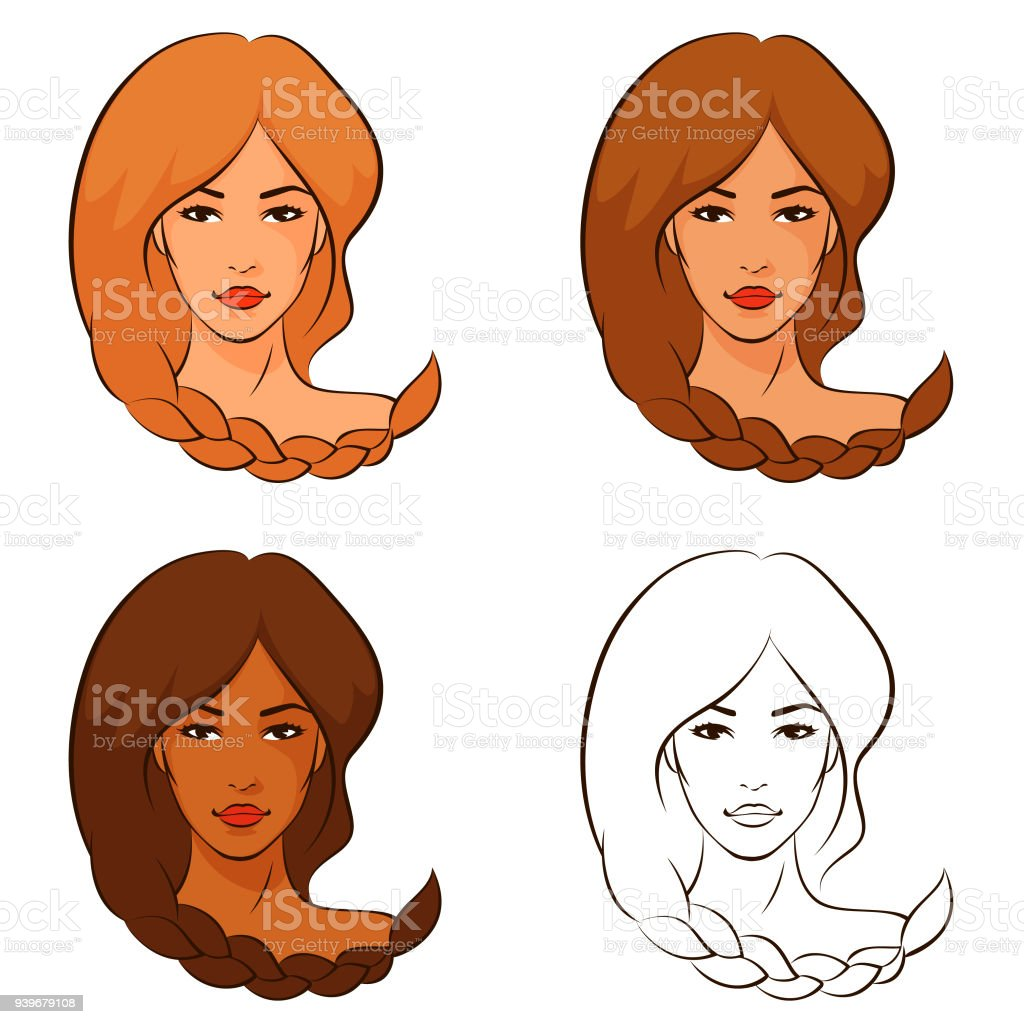line illustrations of beautiful women with braided hair vector art illustration