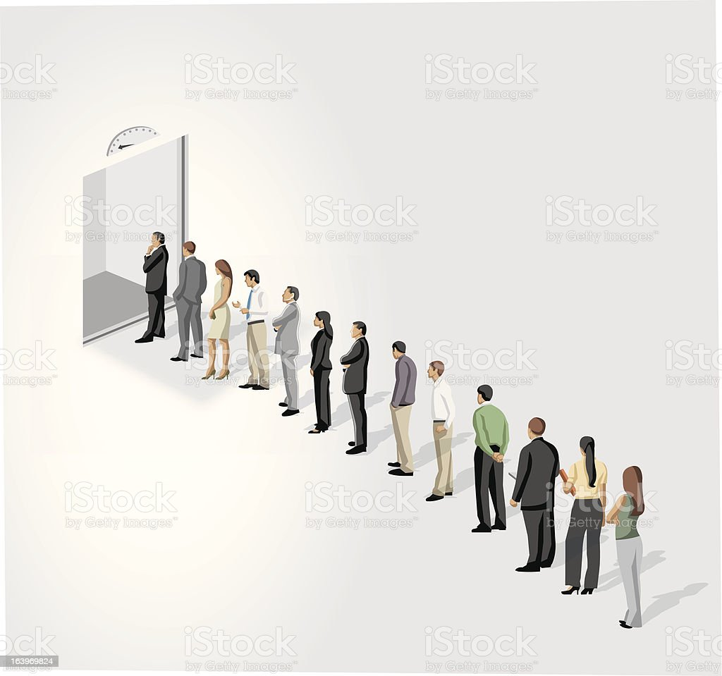 line in front of a elevator vector art illustration