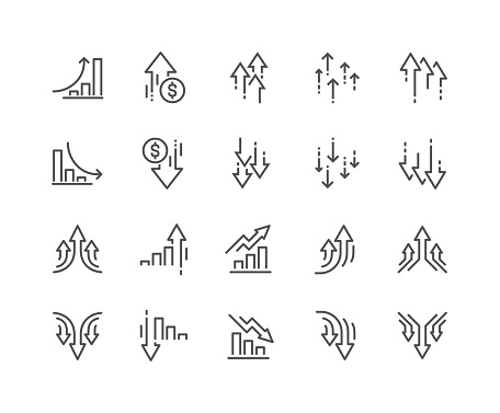 Simple Set of Increase and Decrease Related Vector Line Icons.  Contains such Icons as Finance Chart, Abstract Graph, Trend and more. Editable Stroke. 48x48 Pixel Perfect.