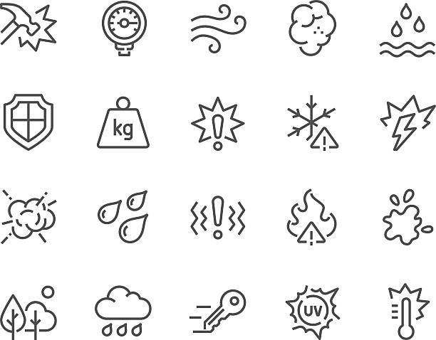 Line Influence Icons Simple Set of Influence Related Vector Line Icons. Contains such Icons as Water Resistance, Heat, Dust, Impact, Scratch, UV rays, Waterproof, Shockproof and more. Editable Stroke. 48x48 Pixel Perfect. impact stock illustrations
