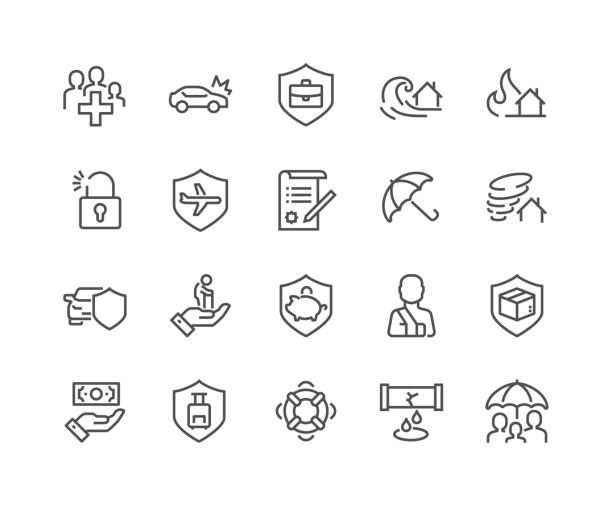 line insurance icons - insurance stock illustrations