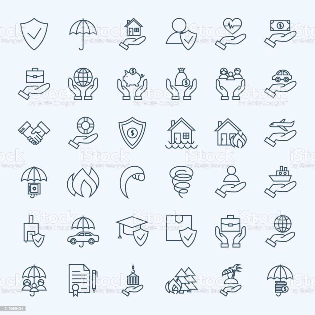 Line Insurance Service Icons Set vector art illustration