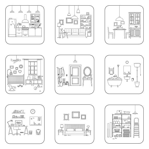 Line interior rooms Set of line interior rooms. Thin illustrations of bathroom, living room, kitchen, etc. bathroom backgrounds stock illustrations