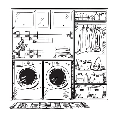 line interior sketch, modern laundry room, black and white drawing
