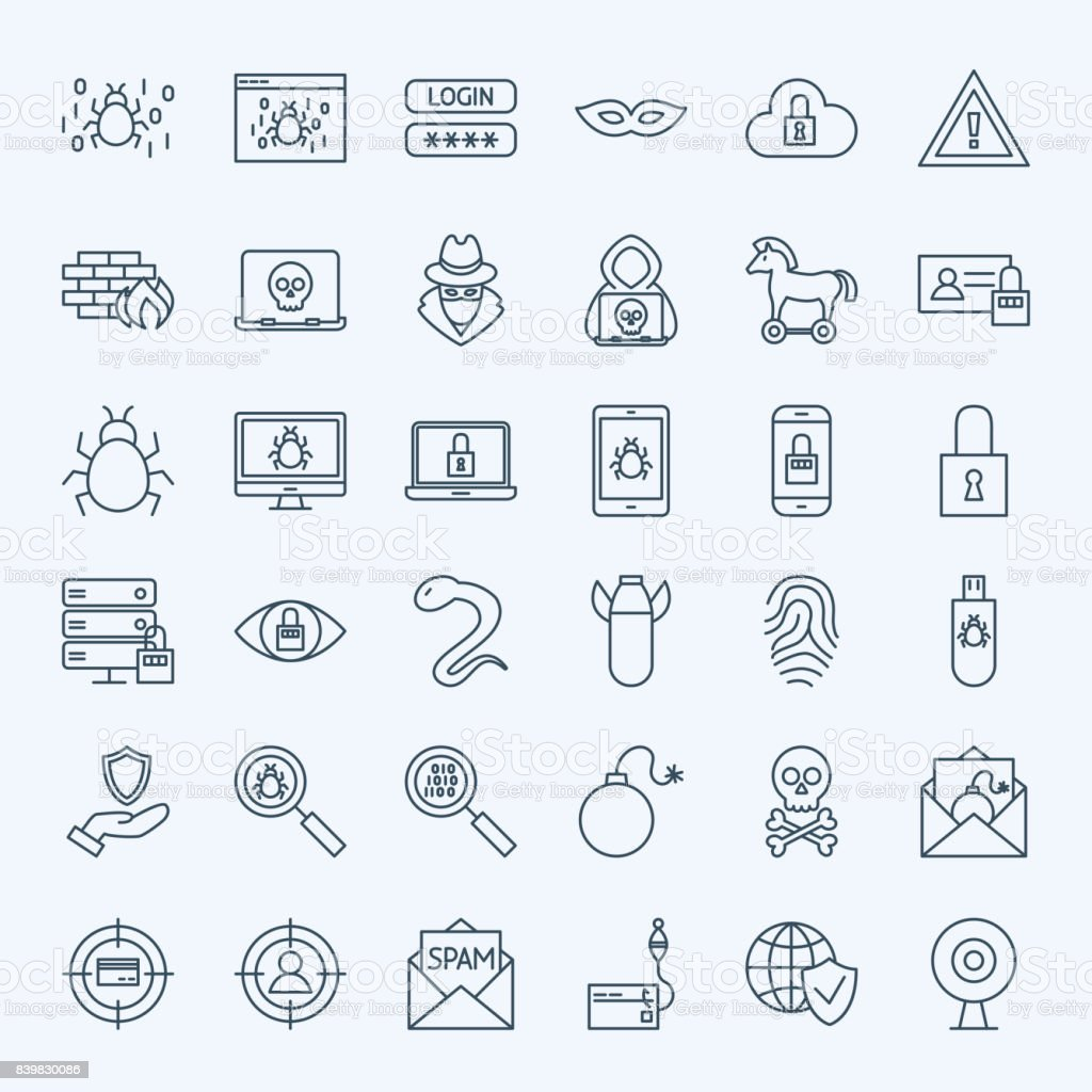 Line Internet Security Icons vector art illustration
