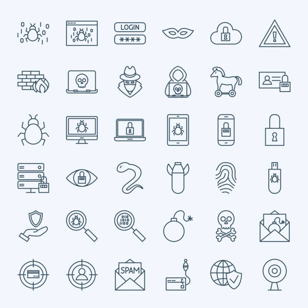 Line Internet Security Icons Line Internet Security Icons. Vector Set of Outline Cyber Crime Symbols. hacker stock illustrations