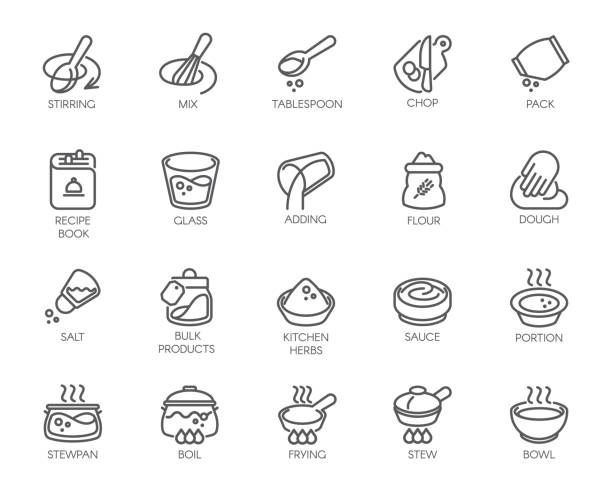 Line isolated icons on kitchen theme. Outline labels for cooking projects, home appliances, products, stickers, printing in books, buttons on sites and apps. Editable Stroke. 48x48 Pixel Perfect Line isolated icons on kitchen theme. Outline labels for cooking projects, home appliances, products, stickers, printing in books, buttons on sites and apps. Editable Stroke. 48x48 Pixel Perfect cooking stock illustrations