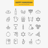 Line Jewish Happy Hanukkah Icons Big Set