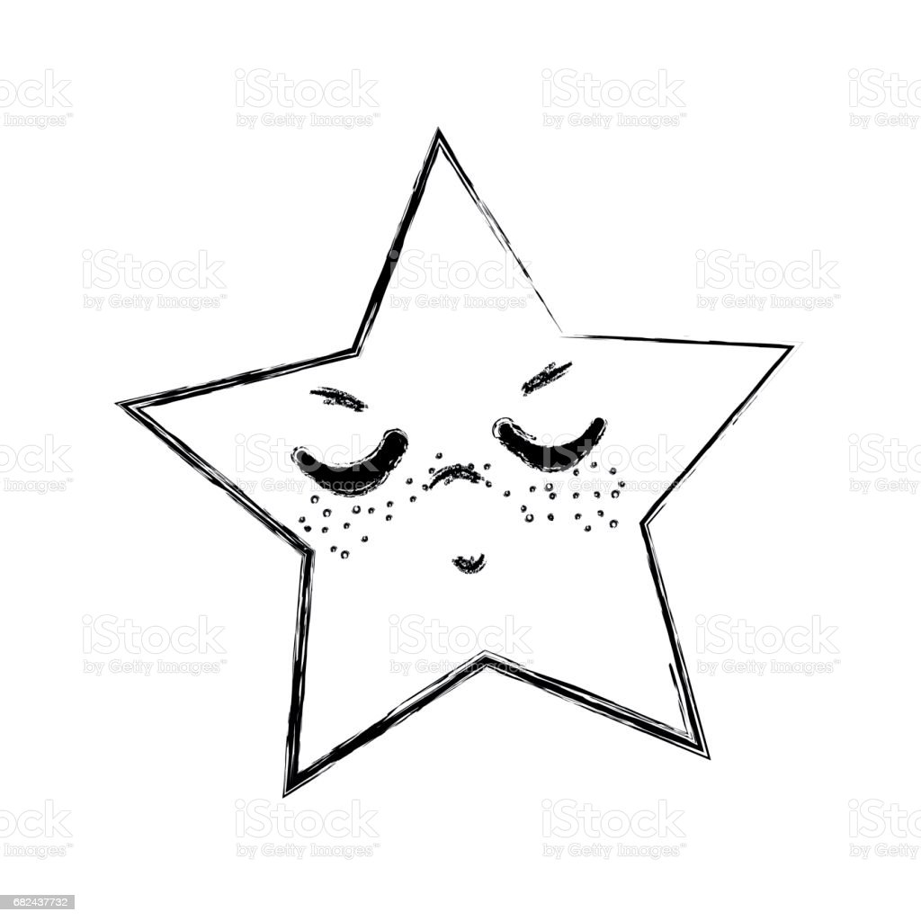 line kawaii angry and cute star design royalty-free line kawaii angry and cute star design stock vector art & more images of anger