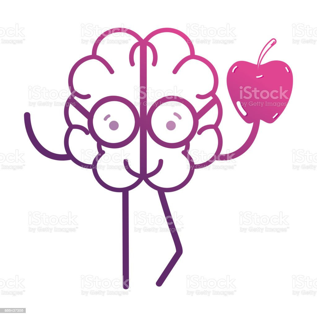 Line Kawaii Brain With Apple Fruit Stock Vector Art & More Images of ...