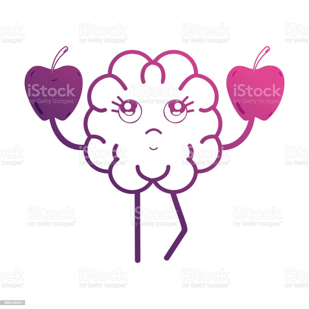 line kawaii brain with apples fruit vector art illustration