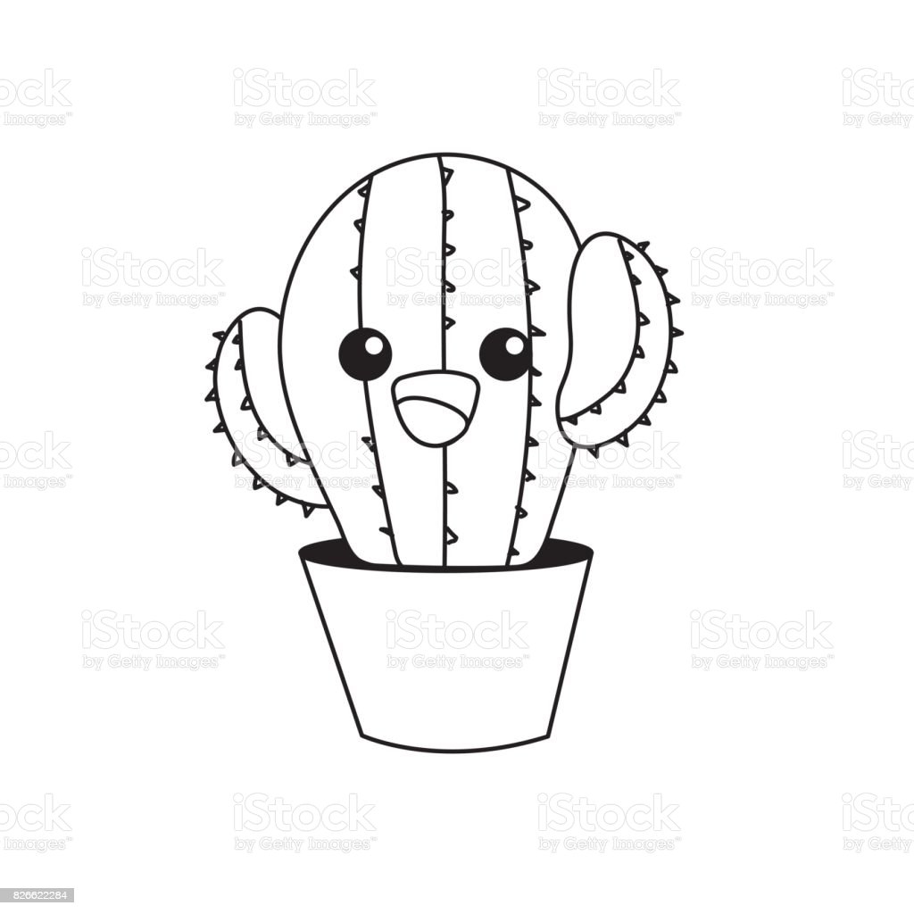 Line Kawaii Cute Tender Cactus Plant Stock Illustration Download