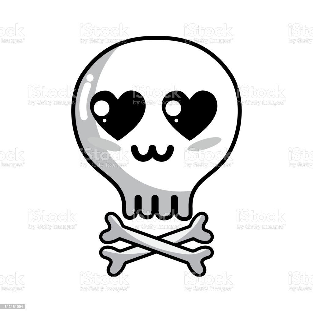 Line Kawaii Cute Tender Skull With Bones Stock Vector Art More