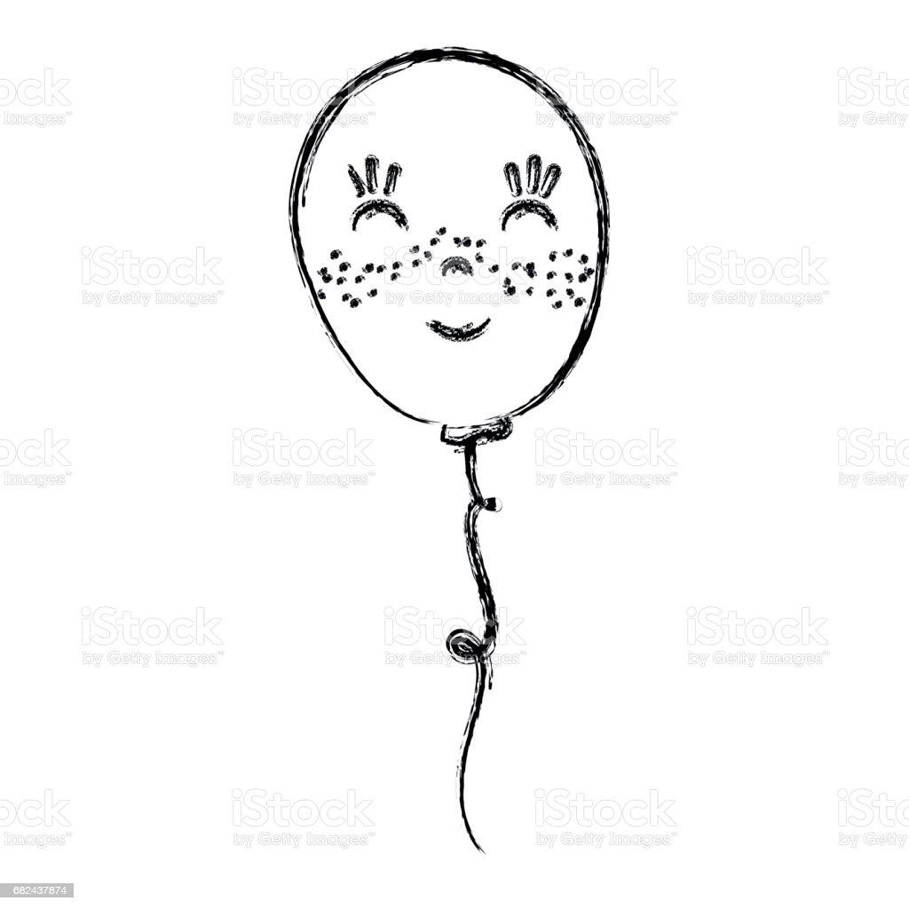 conception de ligne kawaii ballon heureux et mignon conception de ligne kawaii ballon heureux et mignon – cliparts vectoriels et plus d'images de art libre de droits