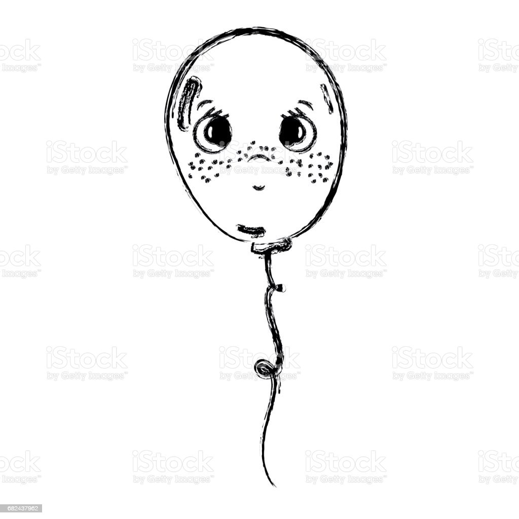 line kawaii sad and cute balloon design royalty-free line kawaii sad and cute balloon design stock vector art & more images of art