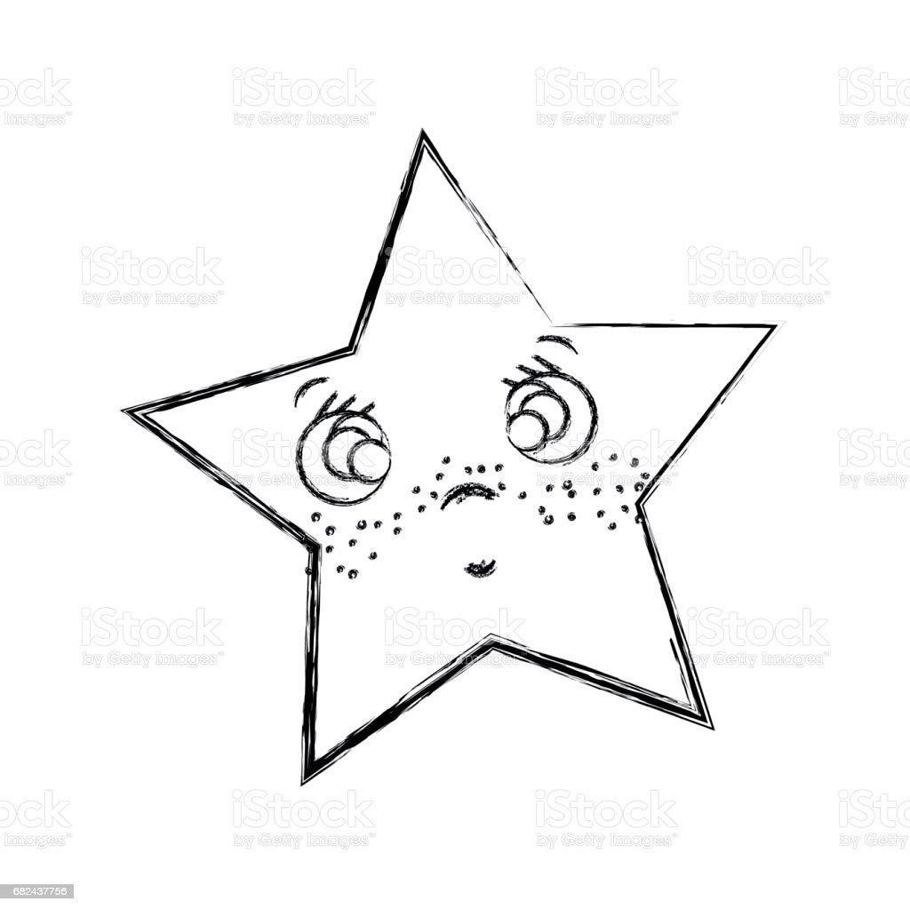 ligne kawaii surpris et mignon star design ligne kawaii surpris et mignon star design – cliparts vectoriels et plus d'images de art libre de droits
