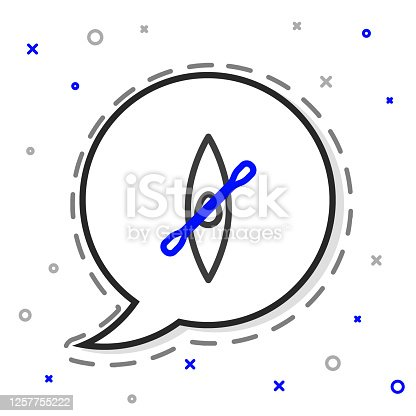 istock Line Kayak and paddle icon isolated on white background. Kayak and canoe for fishing and tourism. Outdoor activities. Colorful outline concept. Vector Illustration 1257755222