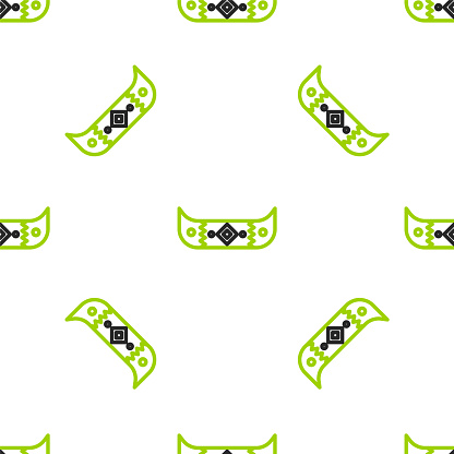 Line Kayak and paddle icon isolated seamless pattern on white background. Kayak and canoe for fishing and tourism. Outdoor activities. Vector