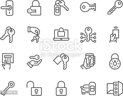 Simple Set of Keys and Locks Related Vector Line Icons. Contains such Icons as Car Keys, Electronic opener, Pin Pad and more. Editable Stroke. 48x48 Pixel Perfect.
