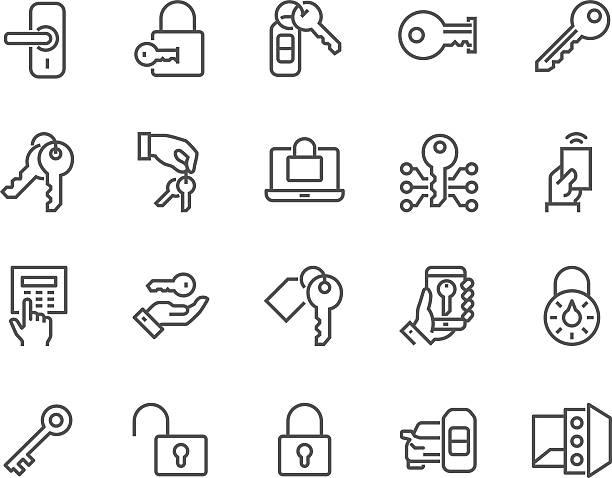 ilustrações, clipart, desenhos animados e ícones de ícones de teclas e fechaduras de linha - chave