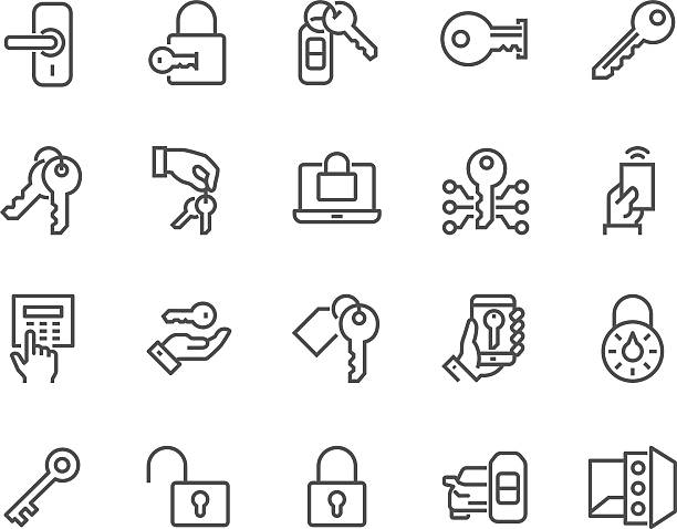 Line Keys and Locks Icons Simple Set of Keys and Locks Related Vector Line Icons. Contains such Icons as Car Keys, Electronic opener, Pin Pad and more. Editable Stroke. 48x48 Pixel Perfect. locking stock illustrations