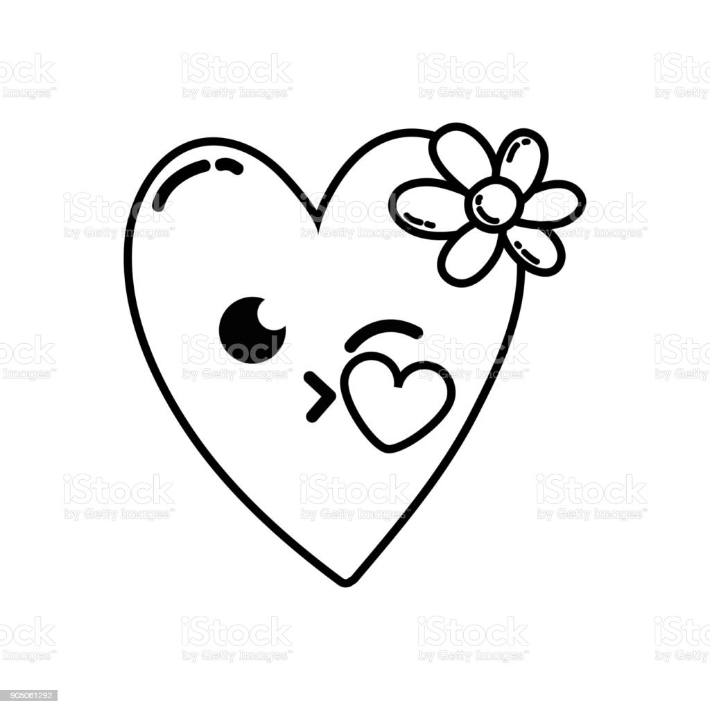 Coeur De Baiser De Ligne Avec Dessin Animé Kawaii De Fleurs