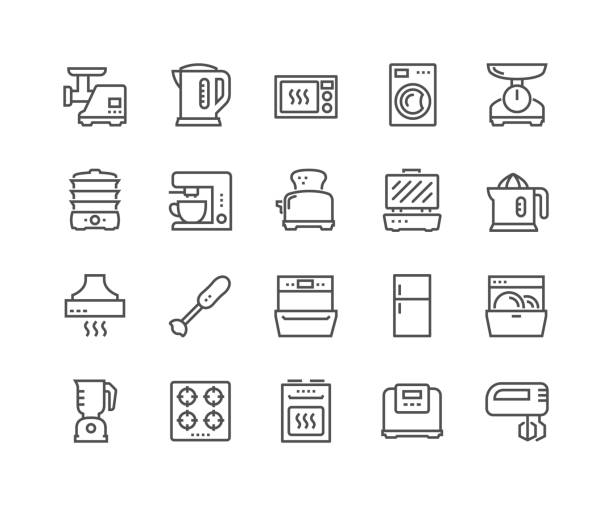 Line Kitchen Appliances Icons Simple Set of Kitchen Appliances Related Vector Line Icons. Contains such Icons as Meat Grinder, Boiler, Multicooker and more. Editable Stroke. 48x48 Pixel Perfect. oven stock illustrations